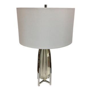 New Chrome & Lucite Modern Table Lamp