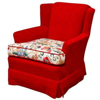 Red Lounge Chair With 'Innis' by Kravet Circus Print Seat