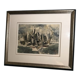 Ted Burnett Expressionist Seascape Sailboats Watercolor