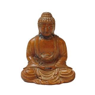 Small Handcrafted Solid Wood Meditation Gautama Shakyamuni Buddha Statue