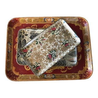 Vintage Decoupage Trays Japan - Set of 3