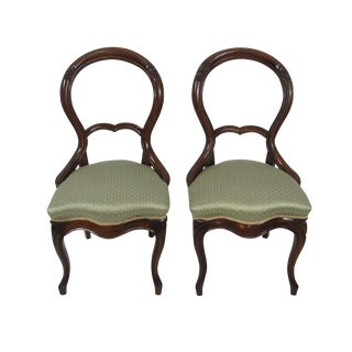 Antique French Balloon Back Victorian Mahogany Chairs - A Pair