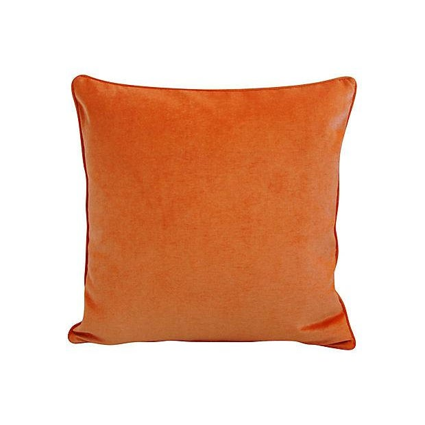 "24"" Custom Tailored Chic Tangerine Orange Velvet Feather/Down Pillows - Pair - Image 5 of 6"
