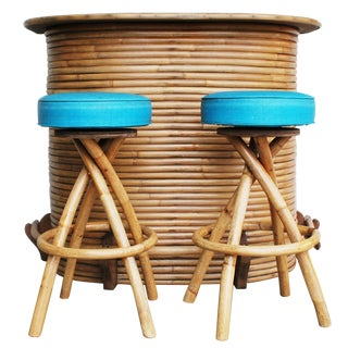 1950s Bent Rattan Tiki Bar & 2 Stools Set