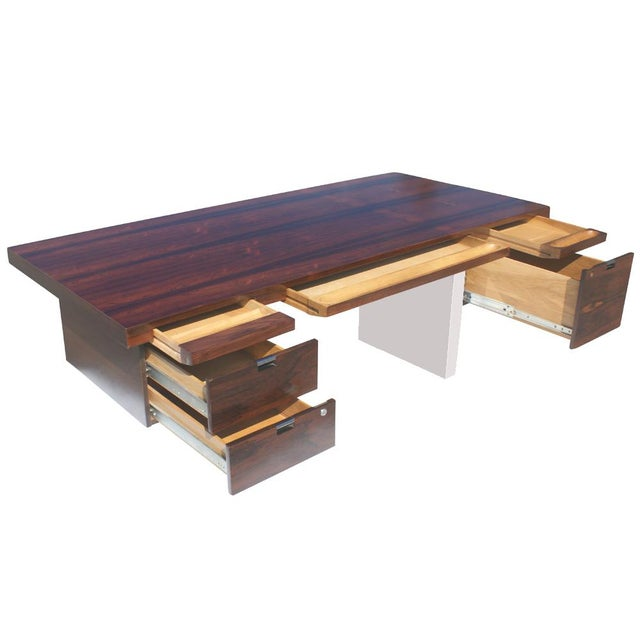 Dunbar Roger Sprunger Stainless Rosewood Desk - Image 4 of 5
