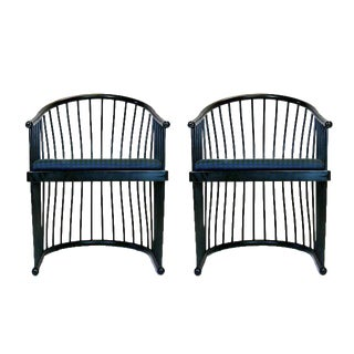 "Pair of Jack Lenor Larsen Black Lacquer ""Cage"" Armchairs"