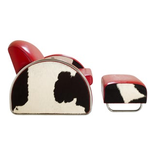 Art Deco Chrome Club Chair Ottoman Set in Leather and Hide