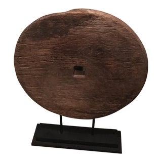 Mounted Vintage Asian Wooden Wheel
