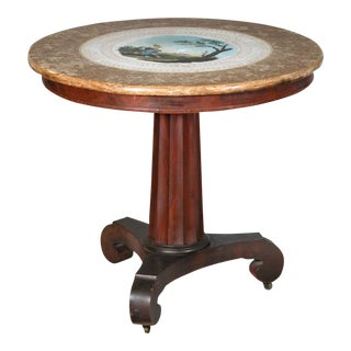 Classical Center Table with a Painted Ceramic Scagliola Top