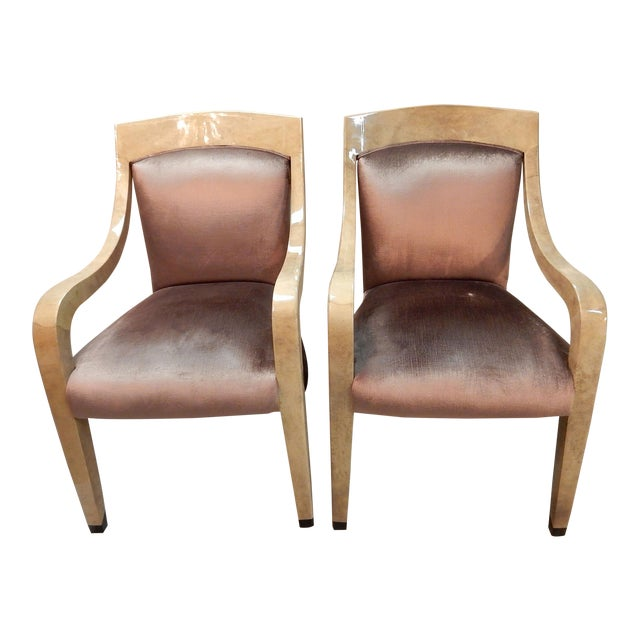 Donghia Goatskin Arm Chairs - Pair - Image 1 of 7