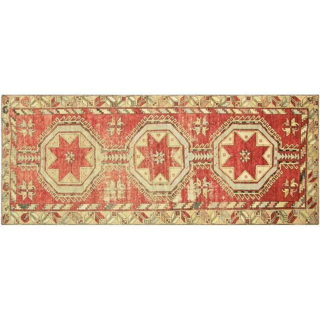 "Vintage Anatolian Oushak Runner - 4'5"" x 10'11"" - Image 1 of 3"