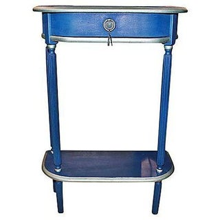 Louis XVI Style Blue Narrow Console Table