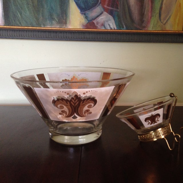 Mid-Century Glass Ice Bucket with Condiment Bowl - Image 7 of 11
