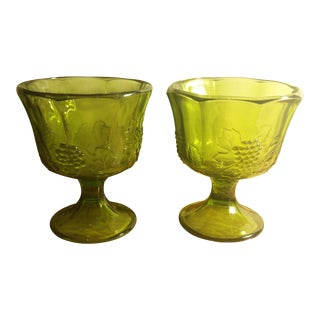 Indiana Glass Harvest Grape Green Footed Dish - A Pair
