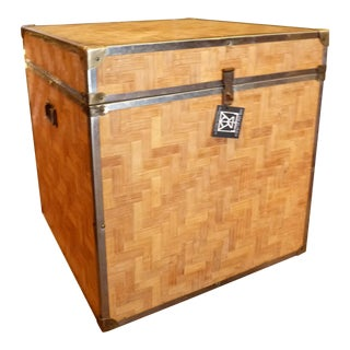 Woven Wood Storage Trunk
