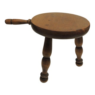 Vintage Primitive Stool With Round Legs