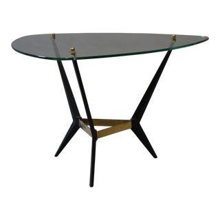 Mid-Century Glass & Black Metal End Table