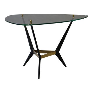 Mid-Century Glass & Black Metal End Table