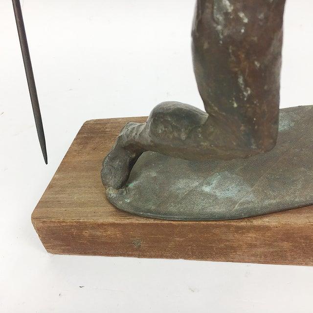 Vintage Twila Albers Bronze Figure Throwing Spear - Image 7 of 8