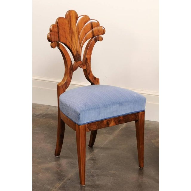 Pair of Austrian Biedermeier Fan Back Chairs with Light Blue Upholstery, 1840 - Image 6 of 10