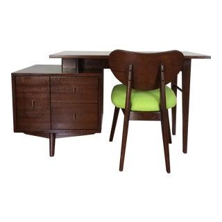 Mid-Century Modern Walnut Floating Desk & Chair