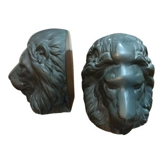 Bronze Lion Head Bookends- A Pair