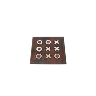 Vintage Wood & Chrome Tic Tac Toe Game