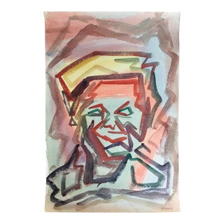 Mid-Century Jacob Semiatin Watercolor Portrait