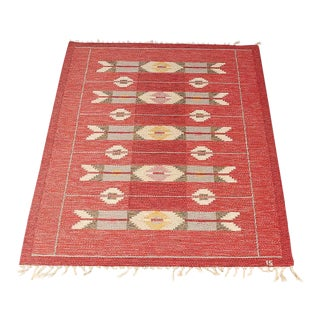 Swedish handmade rollakan flatweave carpet by Ingegerd Silow