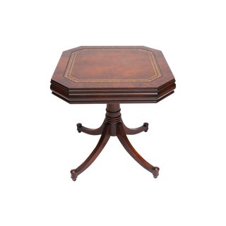 Leather Inlay Drum Table
