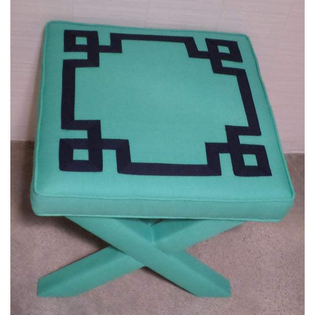 Turquoise Amp Navy Greek Key X Benches A Pair Chairish