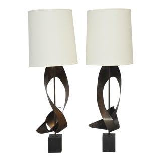 Harry Balmer Pair of Ribbon Lamps