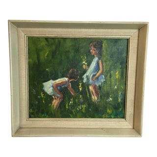 Vintage Sweet Girls Flower Field Painting