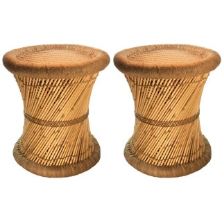Reed Wrapped Beige Accent Stools - A Pair