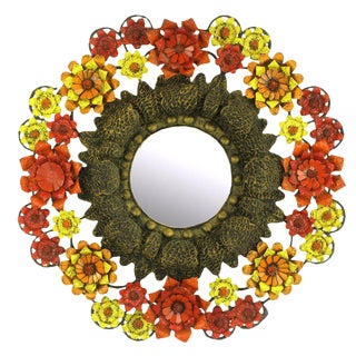 Artes De Mexico Mirror with Red, Yellow and Orange Tole Flower Surround