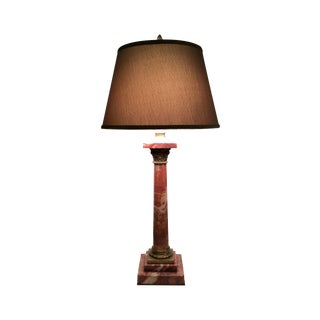 19th Century Rouge Marble Lamp with Bronze Trim