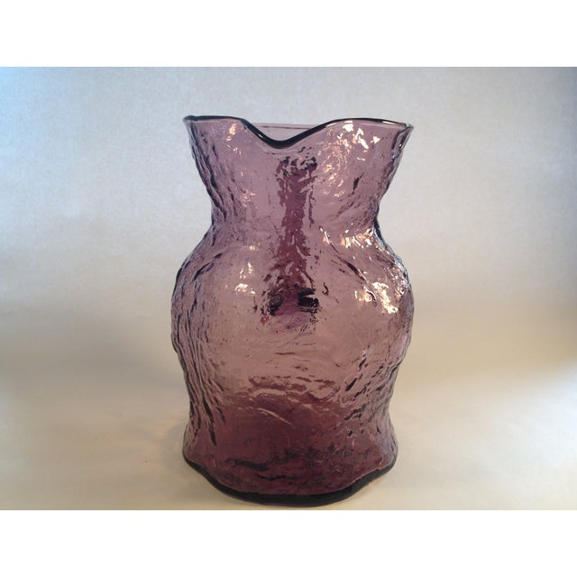 Morgantown Crinkle Glass Amethyst Pitcher - Image 3 of 6