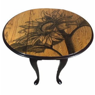 Hand-Stained Sunflower Drop-Leaf Table