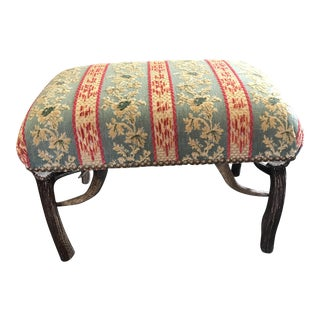 Green & Red Fabric Antler Base Ottoman