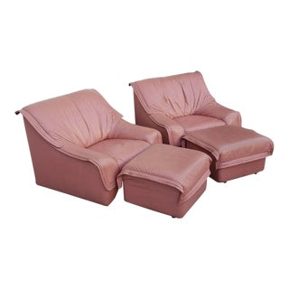 Dusty Rose Leather Lounge Chairs & Ottomans - 2 Pair