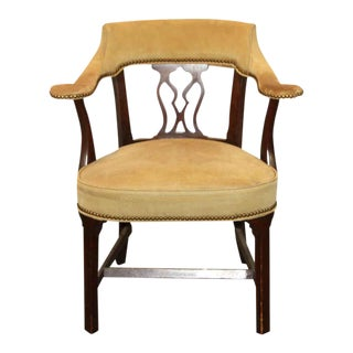 Brass Studded Vintage Leather Arm Chair