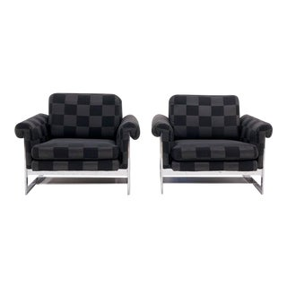 Pair of Milo Baughman for Thayer Coggin Chrome Lounge Chairs