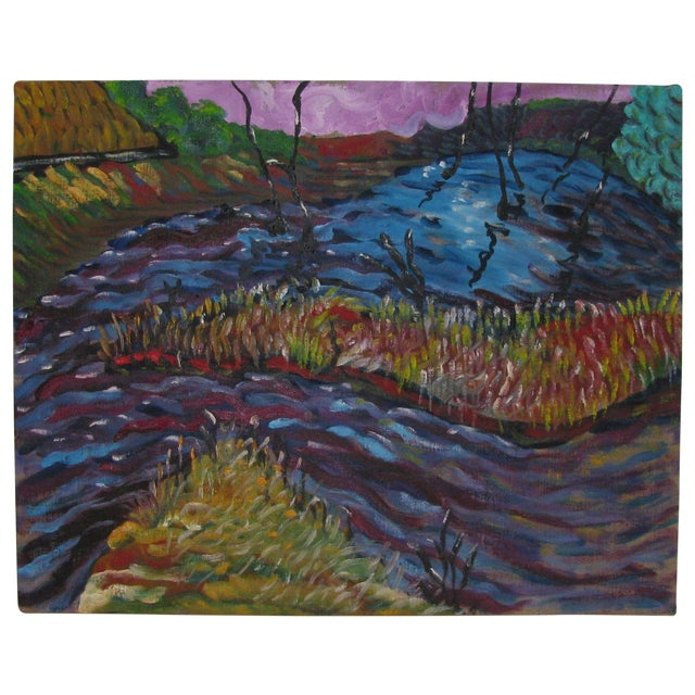 Abstract Impressionist Landscape in Blue & Purple - Image 1 of 3