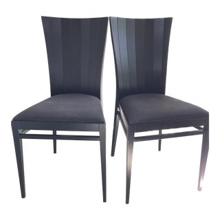Roche Bobois Black Wood Occasional Dinning Chairs - Pair