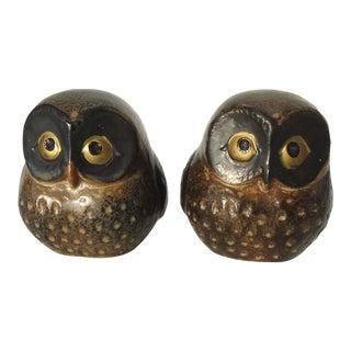 Mid-Century Ceramic Owls - A Pair