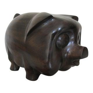 Large Vintage Wooden Goggle Eyed Pig