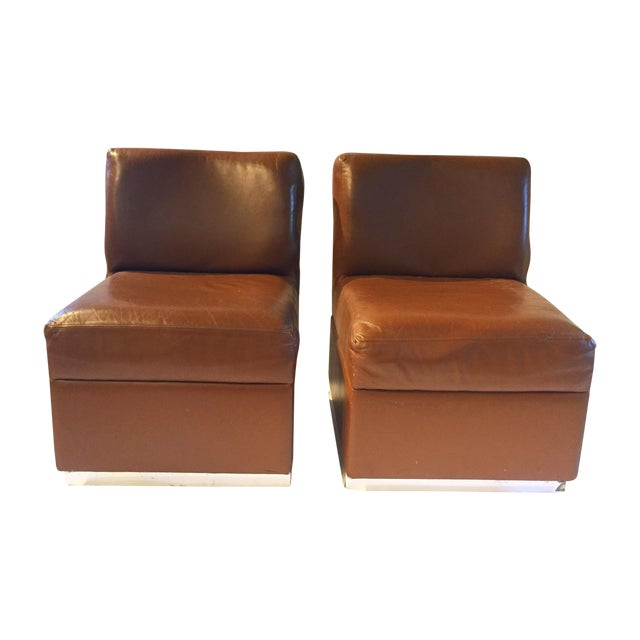 1970s Gucci Leather Slipper Chairs - a Pair - Image 1 of 8