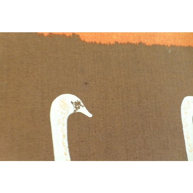 Vintage 1970s Fabric Art of Graceful Swans - Image 6 of 7