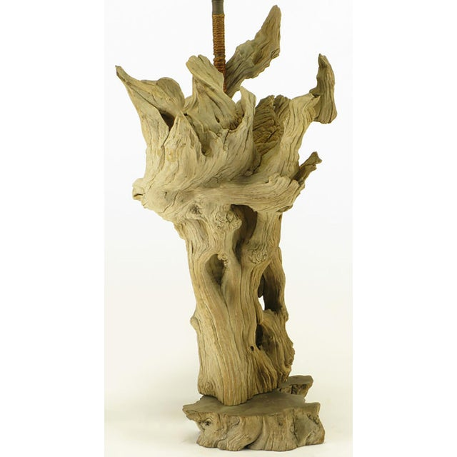 Driftwood Table Lamp with Live Edge Wood Base - Image 4 of 6