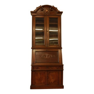 Victorian 1860s Drop Front Secretary Desk